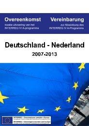 Overeenkomst inzake uitvoering van het INTERREG IV A ...