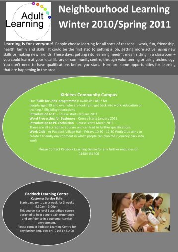 Neighbourhood Learning Winter 2010/Spring 2011 - Community ...
