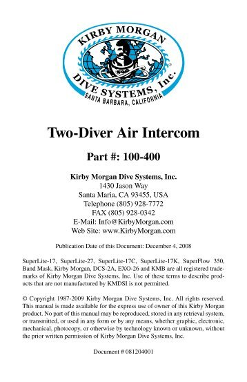 Two-Diver Communications Manual - DECA | Diving Equipment ...