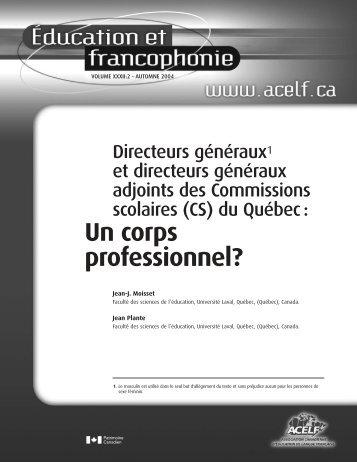 (CS) du Québec : Un corps professionnel? - acelf