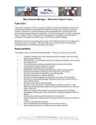 Mine General Manager – Wolverine Project, Yukon Yukon Zinc ...