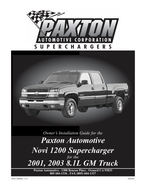 GM 8 1 HD Truck/SUV - Paxton Superchargers