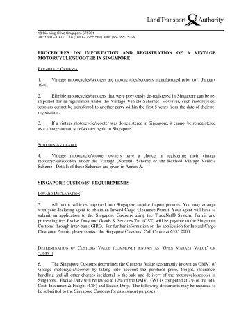procedures on importation and registration of a vintage