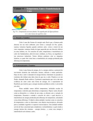 Unidade VI - Temperatura, Calor e Transferência de Calor
