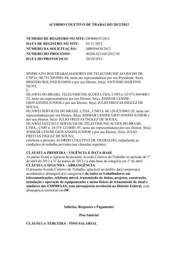 ACORDO COLETIVO DE TRABALHO 2012/2013 ... - Sinttel-DF