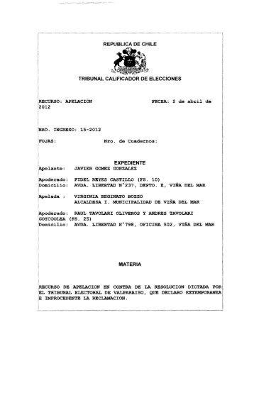 republica de chile tribunal calificador de elecciones expediente ...