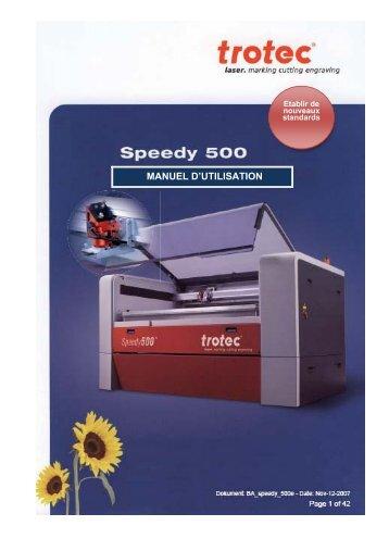 Manuel Speedy 500 - Trotec Laser