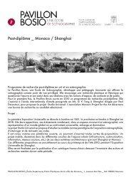 Post-diplôme _ Monaco / Shanghai - Cipac