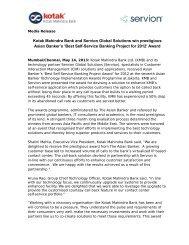Kotak Mahindra Bank and Servion Global Solutions win prestigious ...