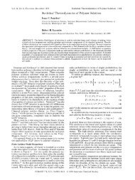 Statistical Thermodynamics of Polymer Solutions - Department of ...
