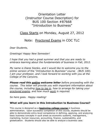 Orientation Letter (Instructor Course Description) for BUS 100 ...