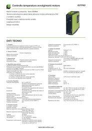 Controllo temperatura avvolgimenti motore DATI TECNICI