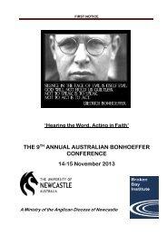 9th Annual Bonhoeffer Conference flyer - Broken Bay Institute