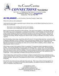 CONNECTIONS Newsletter - Presbytery of Coastal Carolina