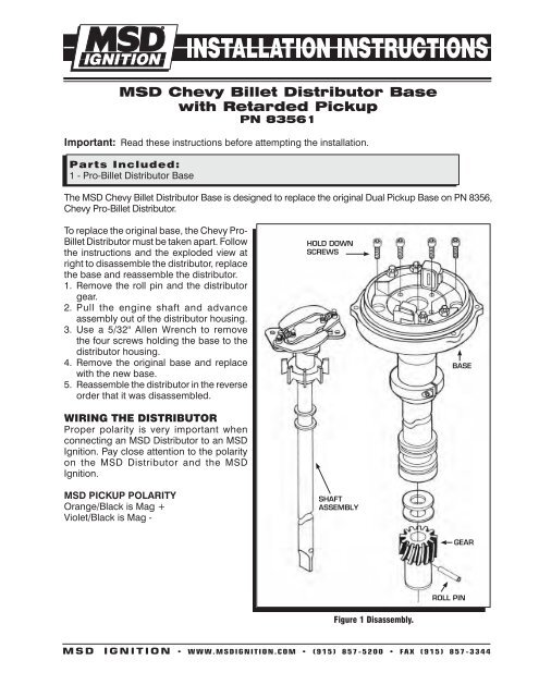 MSD Chevy Billet Distributor Base with Retarded