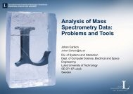 Analysis of Mass Spectrometry Data: Problems and Tools - Sm.luth.se