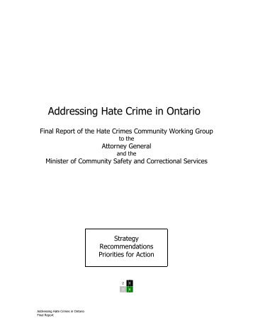 Addressing Hate Crimes in Ontario - Ministry of the Attorney General