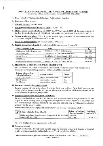 protokol o otevírání obálek, posouzení a hodnocení ... - Český Krumlov