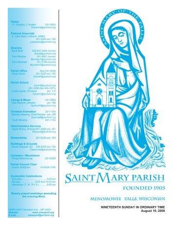 August 10, 2008 - St. Mary Parish