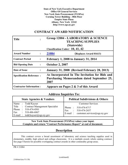 Contract Award Notification - Office of General Services