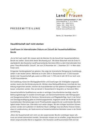 HausWirtschaft darf nicht sterben ... - HWF-Bayern eV
