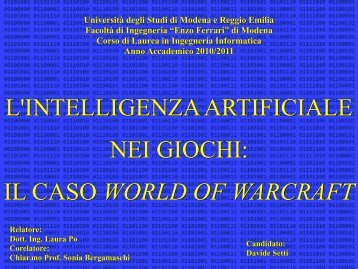 il caso world of warcraft - DBGroup - Università degli studi di ...