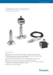 Capteurs de pression Très haute pureté : Série PTU (MS ... - Swagelok