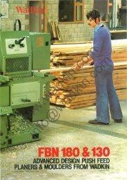 Wadkin FBN 180 & 130 Planer Moulder Literature