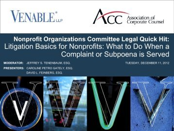 Litigation Basics for Nonprofits: What to Do When a ... - Venable LLP
