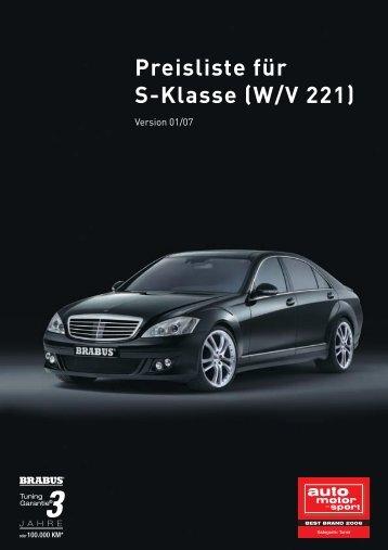 Preisliste für S-Klasse (W/V 221)