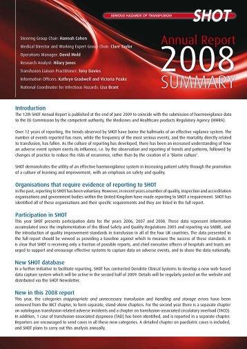 Summary 2008 (pdf) - Serious Hazards of Transfusion