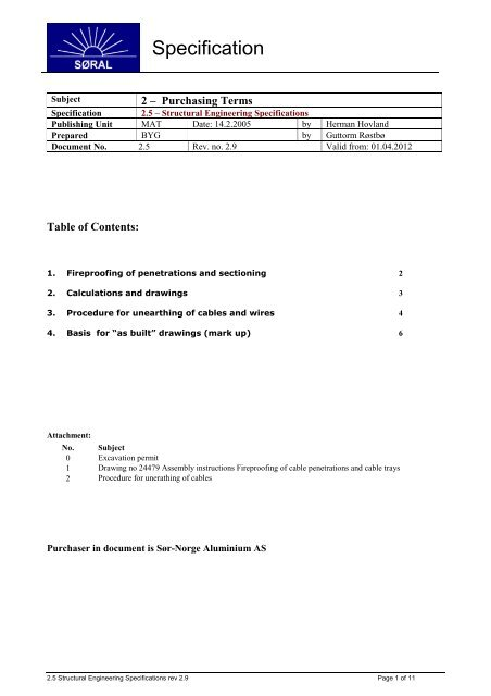 2.5 – Structural Engineering Specifications - Sør-Norge Aluminium AS