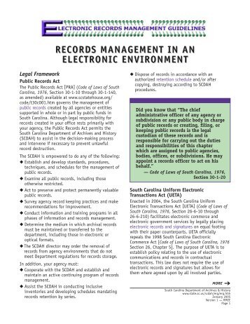 RECORDS MANAGEMENT IN AN ELECTRONIC ENVIRONMENT