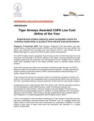 Tiger Airways Awarded CAPA Low Cost Airline of the Year