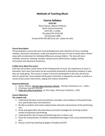ELED 361 Methods of Teaching Music - North Central University