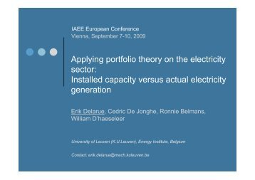 Applying portfolio theory on the electricity sector: Installed ... - AAEE
