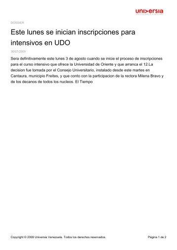Este lunes se inician inscripciones para intensivos en UDO