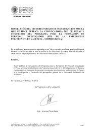 Convocatoria 30/05/12 - Universidad Politécnica de Valencia