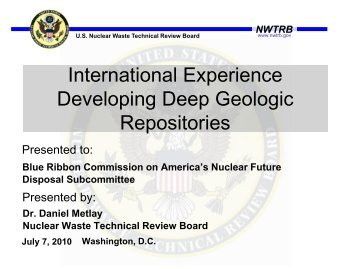 International Experience Developing Deep Geologic Repositories