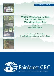 visitor monitoring system - Rainforest Cooperative Research Centre