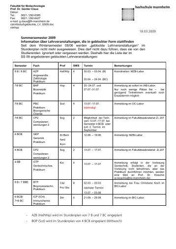Sommersemester 2009 Information über Lehrveranstaltungen, die in ...