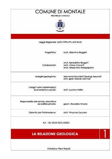 La relazione geologica - Comune di Montale