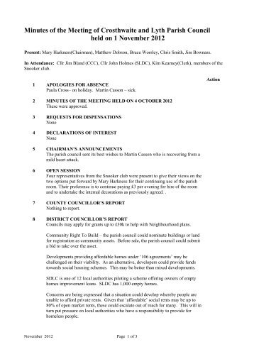 1st November 2012 - The Parish of Crosthwaite and Lyth