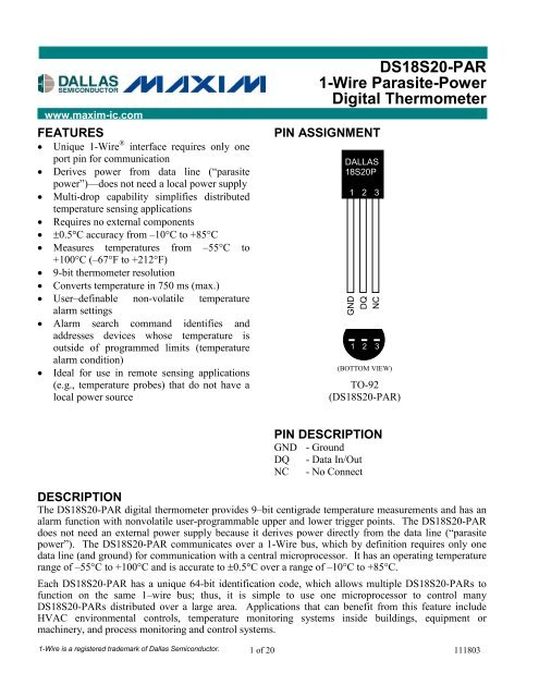 DS18S20-PAR 1-Wire Parasite-Power Digital Thermometer - Maxim 97f9b2973dc2c