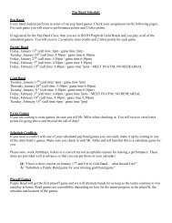 Pep Band Schedule Pep Band Every band student performs in some ...