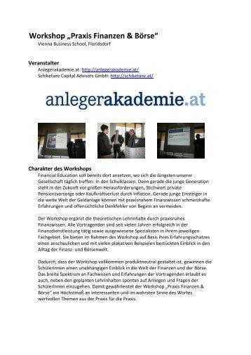 "Workshop ""Praxis Finanzen & Börse"" - VBS Floridsdorf - Vienna ..."
