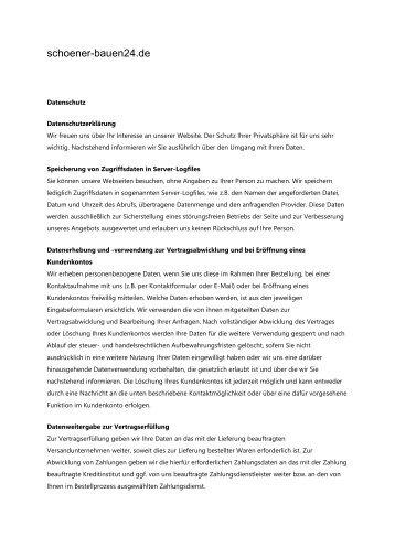 Datenschutz - Schoener-bauen24.de