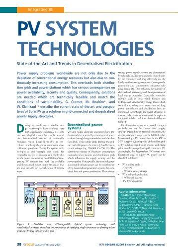 pv system technologies - SMA Solar Technology AG