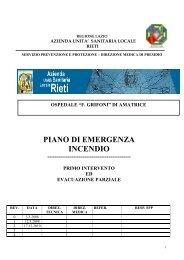 PIANO DI EMERGENZA INCENDIO - Azienda USL Rieti