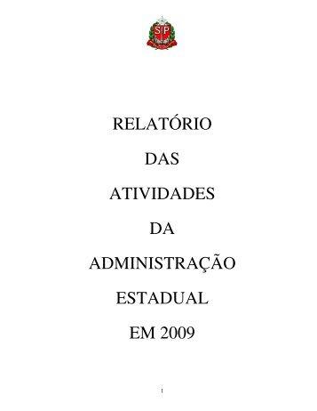 relatório das atividades da administração estadual - Assembleia ...